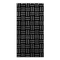 Woven1 Black Marble & Gray Leather Shower Curtain 36  X 72  (stall)  by trendistuff