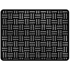 Woven1 Black Marble & Gray Leather Double Sided Fleece Blanket (large)  by trendistuff