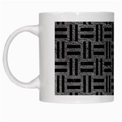 Woven1 Black Marble & Gray Leather (r) White Mugs by trendistuff