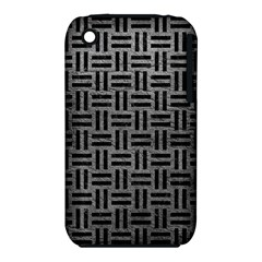 Woven1 Black Marble & Gray Leather (r) Iphone 3s/3gs by trendistuff