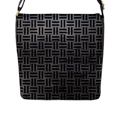 Woven1 Black Marble & Gray Leather (r) Flap Messenger Bag (l)  by trendistuff
