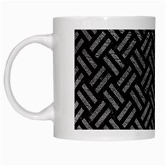 Woven2 Black Marble & Gray Leather White Mugs by trendistuff