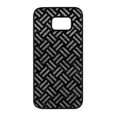 Woven2 Black Marble & Gray Leather Samsung Galaxy S7 Edge Black Seamless Case by trendistuff