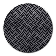 Woven2 Black Marble & Gray Leather (r) Round Mousepads by trendistuff