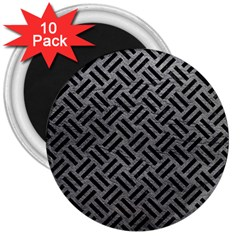 Woven2 Black Marble & Gray Leather (r) 3  Magnets (10 Pack)  by trendistuff