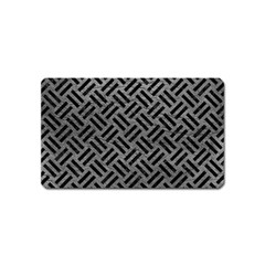Woven2 Black Marble & Gray Leather (r) Magnet (name Card) by trendistuff