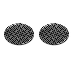 Woven2 Black Marble & Gray Leather (r) Cufflinks (oval) by trendistuff