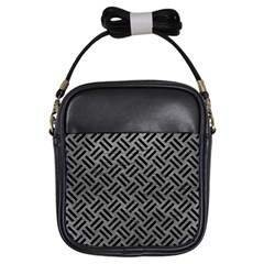 Woven2 Black Marble & Gray Leather (r) Girls Sling Bags by trendistuff