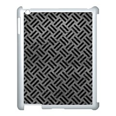 Woven2 Black Marble & Gray Leather (r) Apple Ipad 3/4 Case (white) by trendistuff