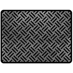 Woven2 Black Marble & Gray Leather (r) Double Sided Fleece Blanket (large)  by trendistuff