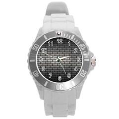 Brick1 Black Marble & Gray Metal 1 (r) Round Plastic Sport Watch (l) by trendistuff