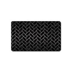 Brick2 Black Marble & Gray Metal 1 Magnet (name Card) by trendistuff