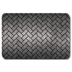 Brick2 Black Marble & Gray Metal 1 (r) Large Doormat  by trendistuff
