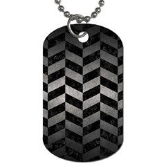 Chevron1 Black Marble & Gray Metal 1 Dog Tag (two Sides) by trendistuff