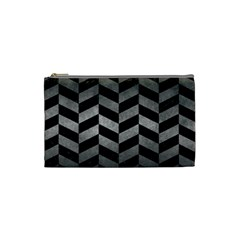 Chevron1 Black Marble & Gray Metal 1 Cosmetic Bag (small)  by trendistuff
