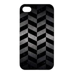 Chevron1 Black Marble & Gray Metal 1 Apple Iphone 4/4s Premium Hardshell Case by trendistuff