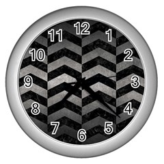 Chevron2 Black Marble & Gray Metal 1 Wall Clocks (silver)  by trendistuff