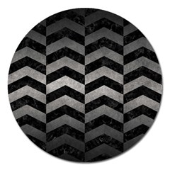 Chevron2 Black Marble & Gray Metal 1 Magnet 5  (round) by trendistuff
