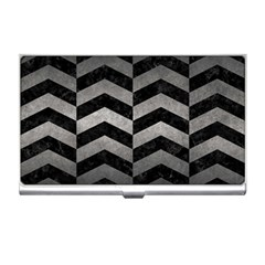 Chevron2 Black Marble & Gray Metal 1 Business Card Holders by trendistuff