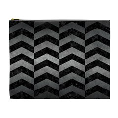 Chevron2 Black Marble & Gray Metal 1 Cosmetic Bag (xl) by trendistuff