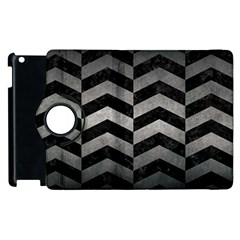 Chevron2 Black Marble & Gray Metal 1 Apple Ipad 2 Flip 360 Case by trendistuff
