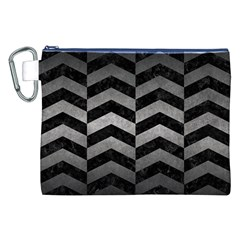 Chevron2 Black Marble & Gray Metal 1 Canvas Cosmetic Bag (xxl)
