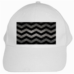 Chevron3 Black Marble & Gray Metal 1 White Cap by trendistuff