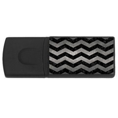 Chevron3 Black Marble & Gray Metal 1 Rectangular Usb Flash Drive by trendistuff