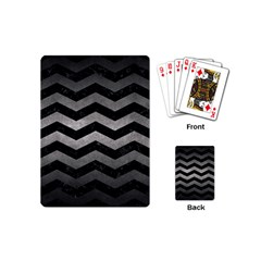 Chevron3 Black Marble & Gray Metal 1 Playing Cards (mini)  by trendistuff