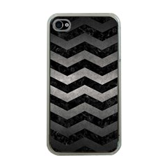 Chevron3 Black Marble & Gray Metal 1 Apple Iphone 4 Case (clear) by trendistuff
