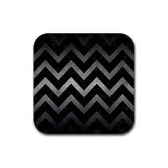 Chevron9 Black Marble & Gray Metal 1 Rubber Square Coaster (4 Pack)  by trendistuff