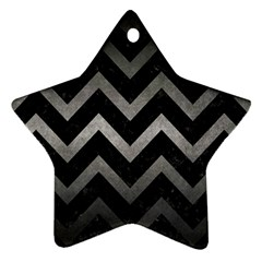 Chevron9 Black Marble & Gray Metal 1 Star Ornament (two Sides) by trendistuff