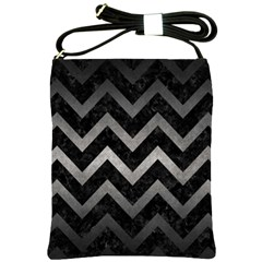 Chevron9 Black Marble & Gray Metal 1 Shoulder Sling Bags by trendistuff