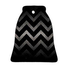 Chevron9 Black Marble & Gray Metal 1 Bell Ornament (two Sides) by trendistuff