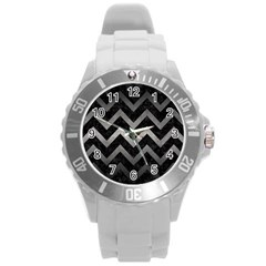 Chevron9 Black Marble & Gray Metal 1 Round Plastic Sport Watch (l) by trendistuff
