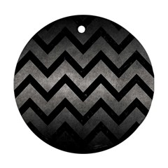 Chevron9 Black Marble & Gray Metal 1 (r) Ornament (round) by trendistuff