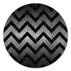 Chevron9 Black Marble & Gray Metal 1 (r) Magnet 5  (round) by trendistuff