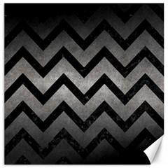 Chevron9 Black Marble & Gray Metal 1 (r) Canvas 20  X 20   by trendistuff