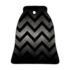 Chevron9 Black Marble & Gray Metal 1 (r) Bell Ornament (two Sides) by trendistuff