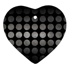 Circles1 Black Marble & Gray Metal 1 Ornament (heart) by trendistuff