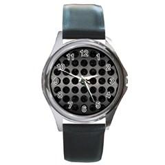 Circles1 Black Marble & Gray Metal 1 (r) Round Metal Watch by trendistuff