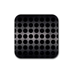 Circles1 Black Marble & Gray Metal 1 (r) Rubber Square Coaster (4 Pack)  by trendistuff