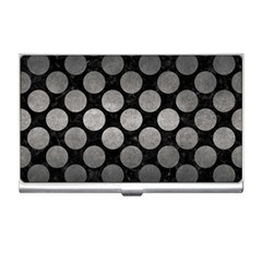Circles2 Black Marble & Gray Metal 1 Business Card Holders by trendistuff