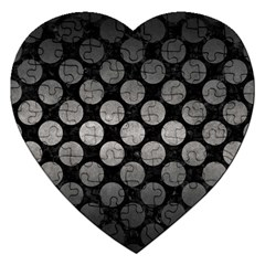Circles2 Black Marble & Gray Metal 1 Jigsaw Puzzle (heart) by trendistuff