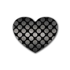 Circles2 Black Marble & Gray Metal 1 Heart Coaster (4 Pack)  by trendistuff