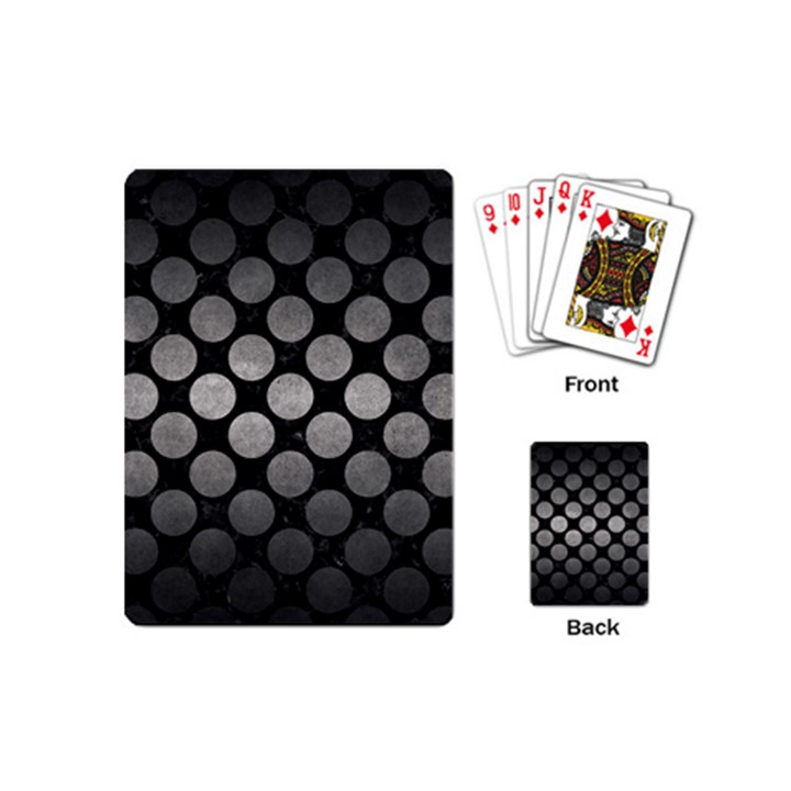 CIRCLES2 BLACK MARBLE & GRAY METAL 1 Playing Cards (Mini)