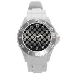 Circles2 Black Marble & Gray Metal 1 Round Plastic Sport Watch (l) by trendistuff