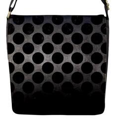 Circles2 Black Marble & Gray Metal 1 (r) Flap Messenger Bag (s) by trendistuff