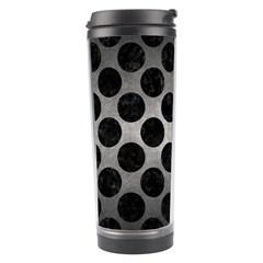 Circles2 Black Marble & Gray Metal 1 (r) Travel Tumbler by trendistuff