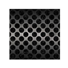 Circles2 Black Marble & Gray Metal 1 (r) Small Satin Scarf (square) by trendistuff